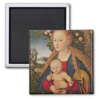 The Virgin and Child under an Apple Tree Square Magnet