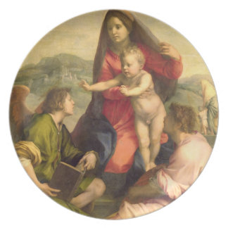 The Virgin and Child with a Saint and an Angel, c. Plates