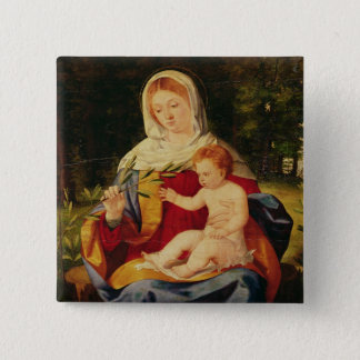 The Virgin and Child with a shoot of Olive 15 Cm Square Badge