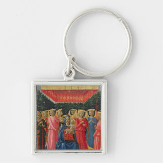 The Virgin and Child with Angels, c.1440-50 Silver-Colored Square Key Ring
