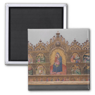 The Virgin and Child with Legendary Scenes Square Magnet