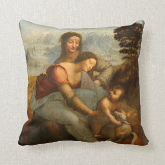 The Virgin and Child with St. Anne by Da Vinci Cushion