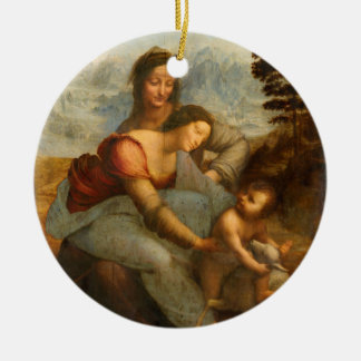 The Virgin and Child with St. Anne by Da Vinci Round Ceramic Decoration