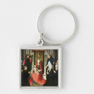 The Virgin and Child with St. James & St. Dominic Silver-Colored Square Key Ring