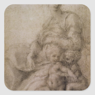 The Virgin and Child with the infant Baptist Square Sticker