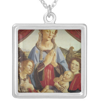 The Virgin and Child with Two Angels, c.1470's Silver Plated Necklace