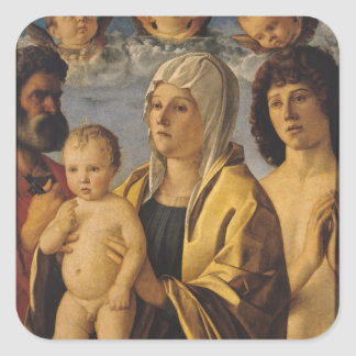 The Virgin & Child with St. Peter & St. Square Stickers
