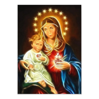 The Virgin Mary And Baby Jesus Sacred Heart 13 Cm X 18 Cm Invitation Card