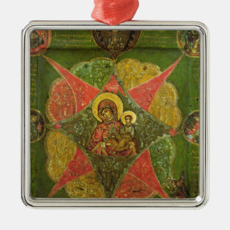 The Virgin of the Burning Bush, from Mount Athos Silver-Colored Square Decoration