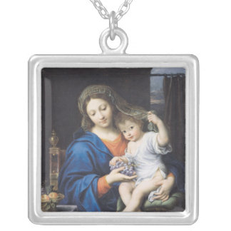 The Virgin of the Grapes, 1640-50 Silver Plated Necklace