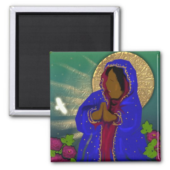the virgin of the roses square magnet