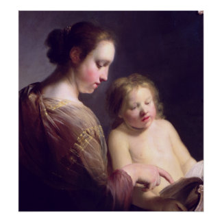 The Virgin Teaching the Infant Christ to Read Poster
