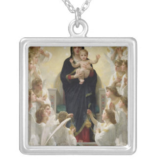 The Virgin with Angels, 1900 Silver Plated Necklace
