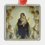 The Virgin With Angels Silver-Colored Square Decoration