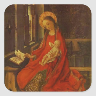 The Virgin with Infant by Martin Schongauer Square Stickers