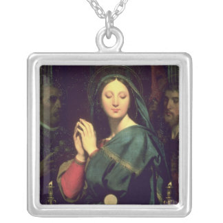 The Virgin with the Host, 1841 Silver Plated Necklace