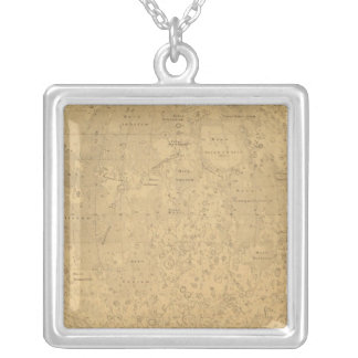 The visible side of the moon surface map silver plated necklace