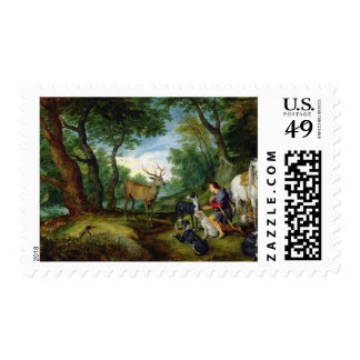 The Vision of St. Hubert, c.1620 (oil on panel) Stamp