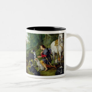 The Vision of St. Hubert, c.1620 (oil on panel) Two-Tone Coffee Mug