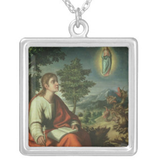The Vision of St. John the Evangelist on Patmos Silver Plated Necklace