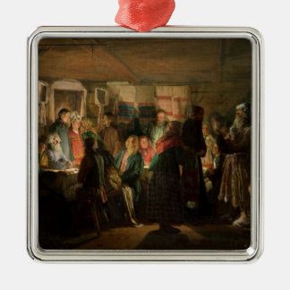 The Visit of a Sorcerer to a Peasant Wedding Silver-Colored Square Decoration