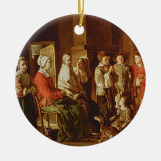 The Visit to the Grandmother (oil on canvas) Round Ceramic Decoration