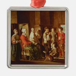 The Visit to the Grandmother (oil on canvas) Silver-Colored Square Decoration