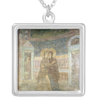 The Visitation, detail from the chapel interior Silver Plated Necklace