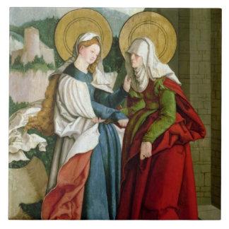 The Visitation (oil on panel) Large Square Tile