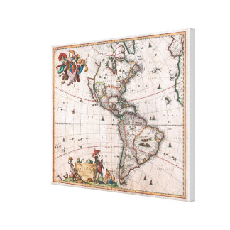 The Visscher map of the New World Canvas Print