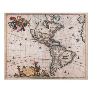 The Visscher map of the New World Poster