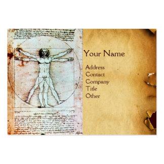 THE VITRUVIAN MAN , Antique Brown Parchment Business Cards