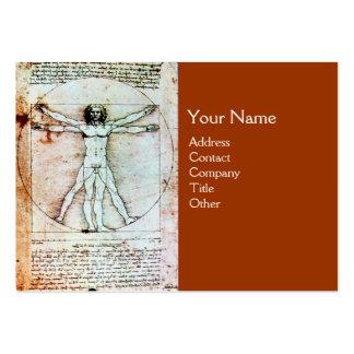 THE VITRUVIAN MAN , Antique Brown Parchment Business Card Templates