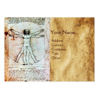 THE VITRUVIAN MAN , Antique Brown Parchment Business Card Template