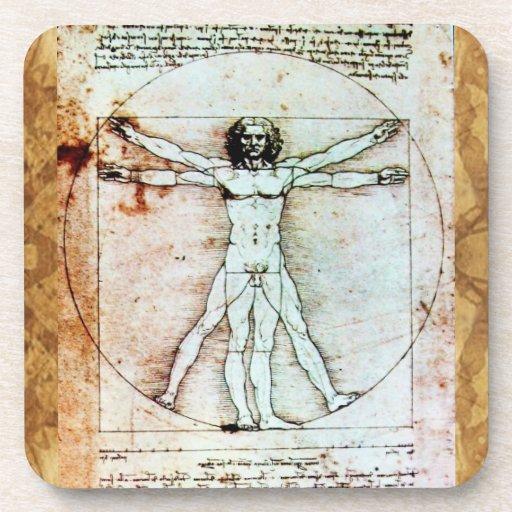 THE VITRUVIAN MAN Antique Parchment Beverage Coaster