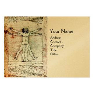 THE VITRUVIAN MAN , Gold Metallic Business Card Template