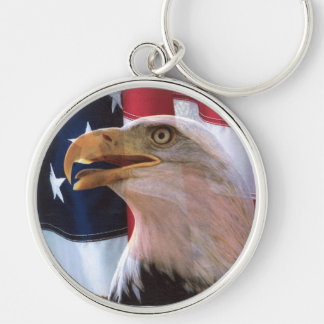 The Voice of American Freedom Silver-Colored Round Key Ring