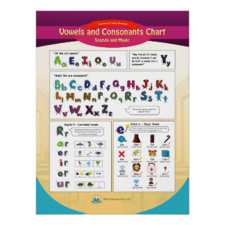The Vowels and Consonants Chart Poster