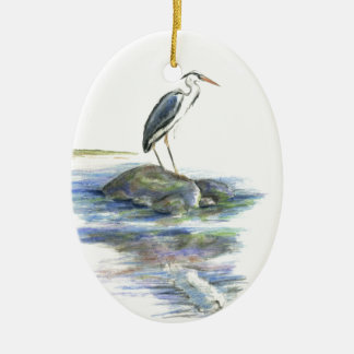 The Wait - Great Blue Heron Ceramic Oval Decoration