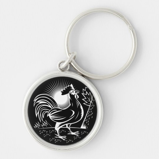 The Wake Up Rooster Silver-Colored Round Key Ring
