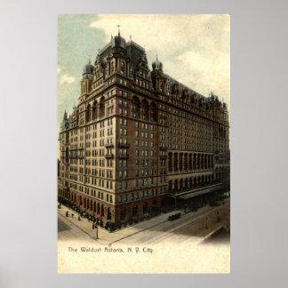 The Waldorf Astoria, New York City 1908 Vintage Poster