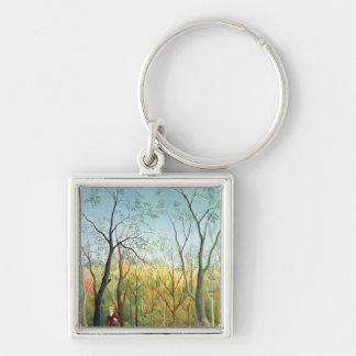 The Walk in the Forest, 1886-90 Silver-Colored Square Key Ring