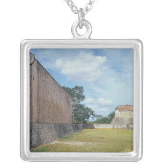The wall of the Ball Court Silver Plated Necklace