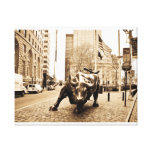 """""""The Wall Street Bull"""" Stretched Canvas Print"""
