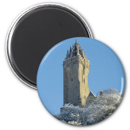 The Wallace Monument Stirling Scotland in winter 6 Cm Round Magnet