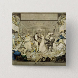 The Waltz (coloured engraving) 15 Cm Square Badge