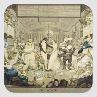 The Waltz (coloured engraving) Square Sticker
