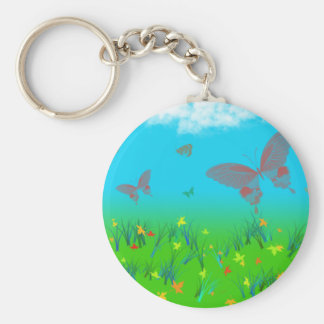 The waltz of the butterflies basic round button key ring