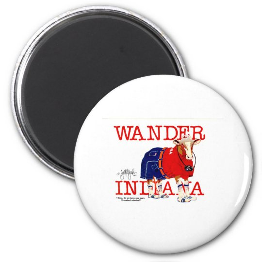 The Wander Indiana Cow 6 Cm Round Magnet