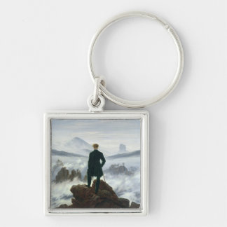 The Wanderer above the Sea of Fog, 1818 Silver-Colored Square Key Ring